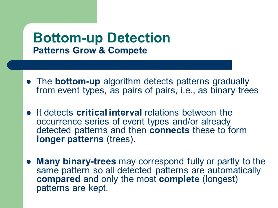 Critical Intervals and Binary Trees Any T-pattern Q = X 1 X 2..X m can be split into a pair of shorter ones related by a critical interval: Q Left [d