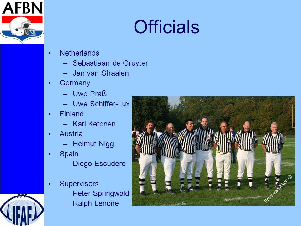 Mechanics Group games –3-men mechanics –Referee, Linesman and Line Judge (7 yard mark) In half time and between games –Little get together to review games with supervisor Finals –4-men mechanics –Referee, Linesman, Line judge and Back judge (7 yard mark)