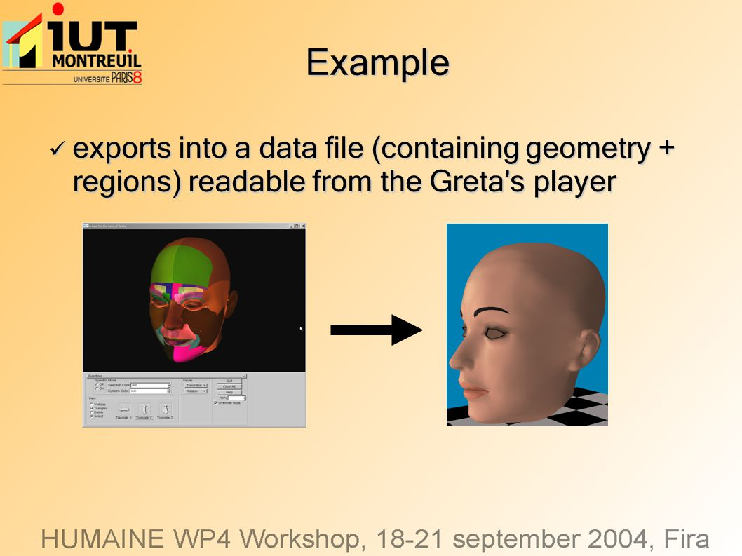 Example exports into a data file (containing geometry + regions) readable from the Greta's player exports into a data file (containing geometry + regi