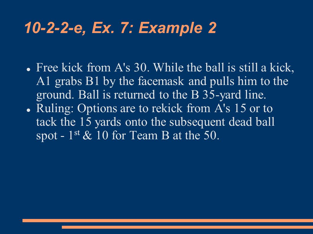 10-2-2-e, Ex. 7: Example 2 Free kick from A s 30.