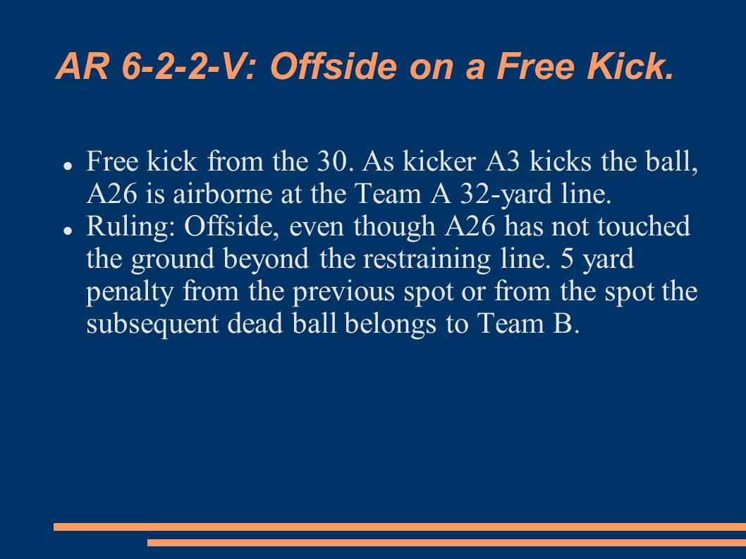 AR 6-2-2-V: Offside on a Free Kick. Free kick from the 30.