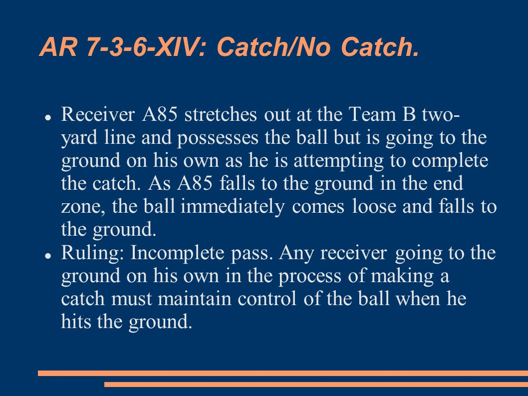 AR 7-3-6-XIV: Catch/No Catch.