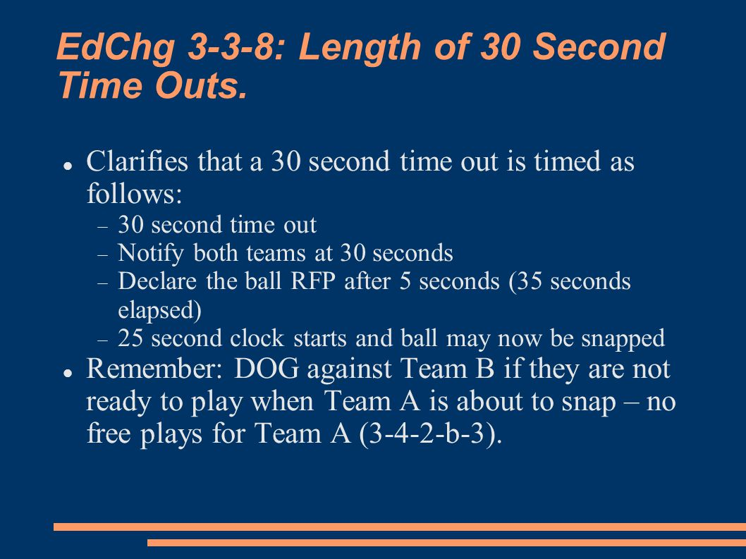 EdChg 3-3-8: Length of 30 Second Time Outs.
