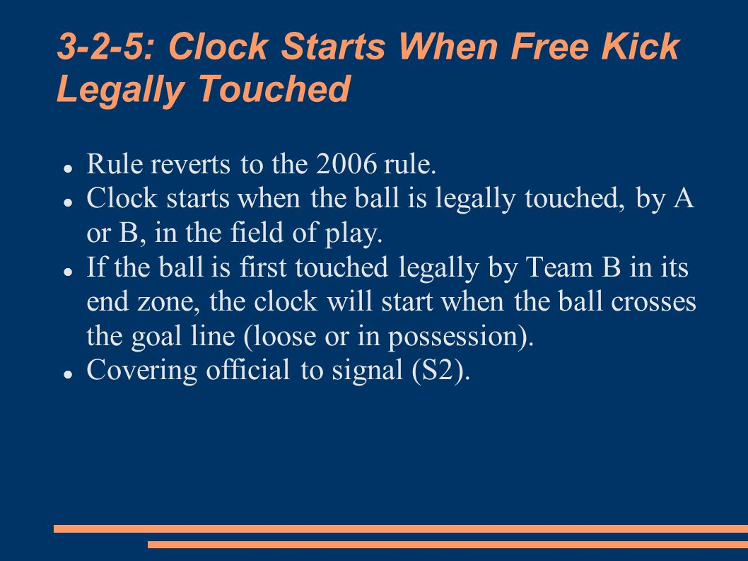 3-2-5: Clock Starts When Free Kick Legally Touched Rule reverts to the 2006 rule.