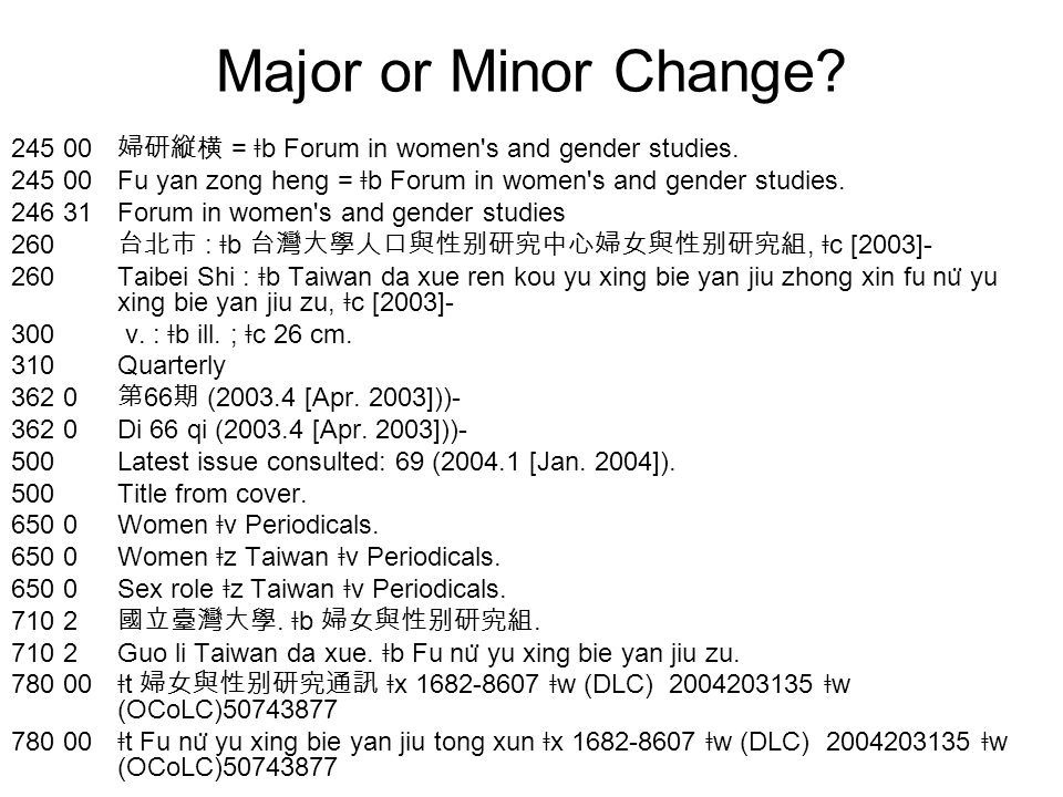 Major or Minor Change. 245 00 婦研縦横 = ǂ b Forum in women s and gender studies.