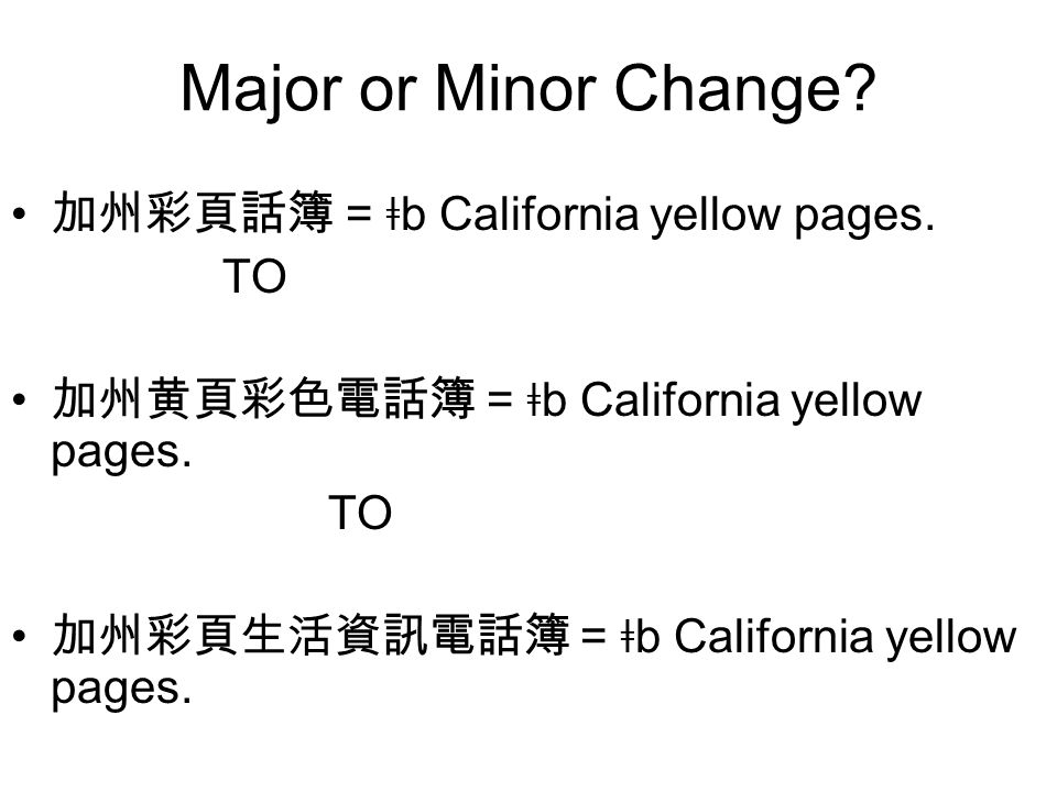 Major or Minor Change. 加州彩頁話簿 = ǂ b California yellow pages.