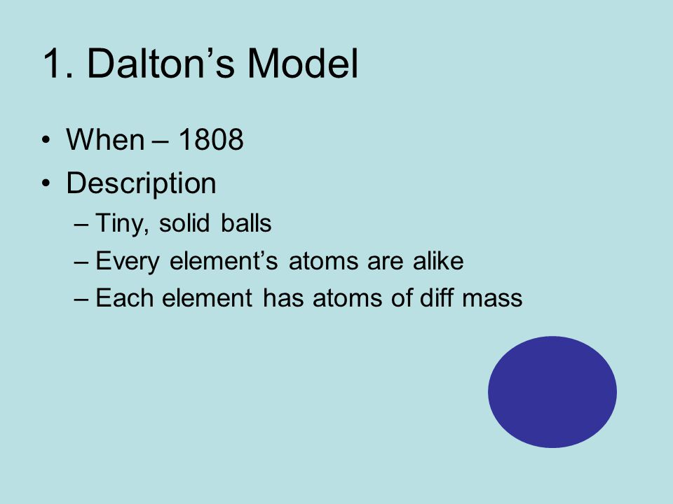 1. Dalton's Model When – 1808 Description –Tiny, solid balls –Every element's atoms are alike –Each element has atoms of diff mass