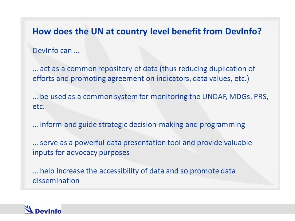 How does the UN at country level benefit from DevInfo.