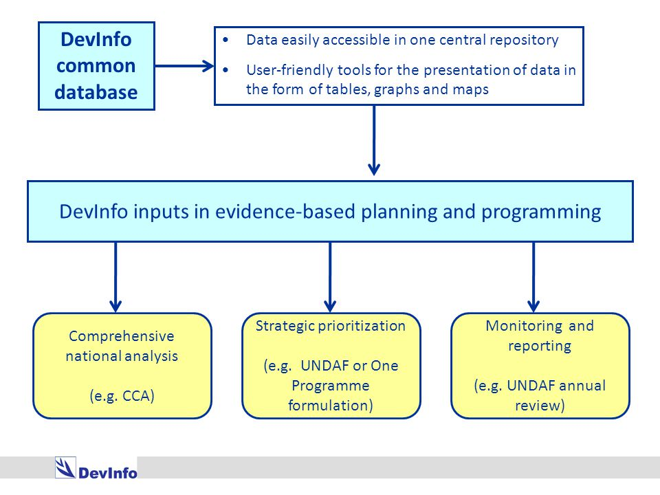 Reporting DevInfo facilitates the creation of standard reports