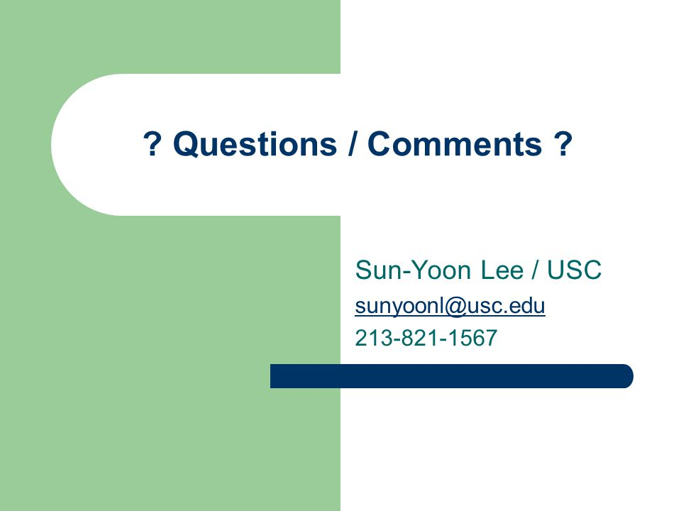 Questions / Comments Sun-Yoon Lee / USC sunyoonl@usc.edu 213-821-1567