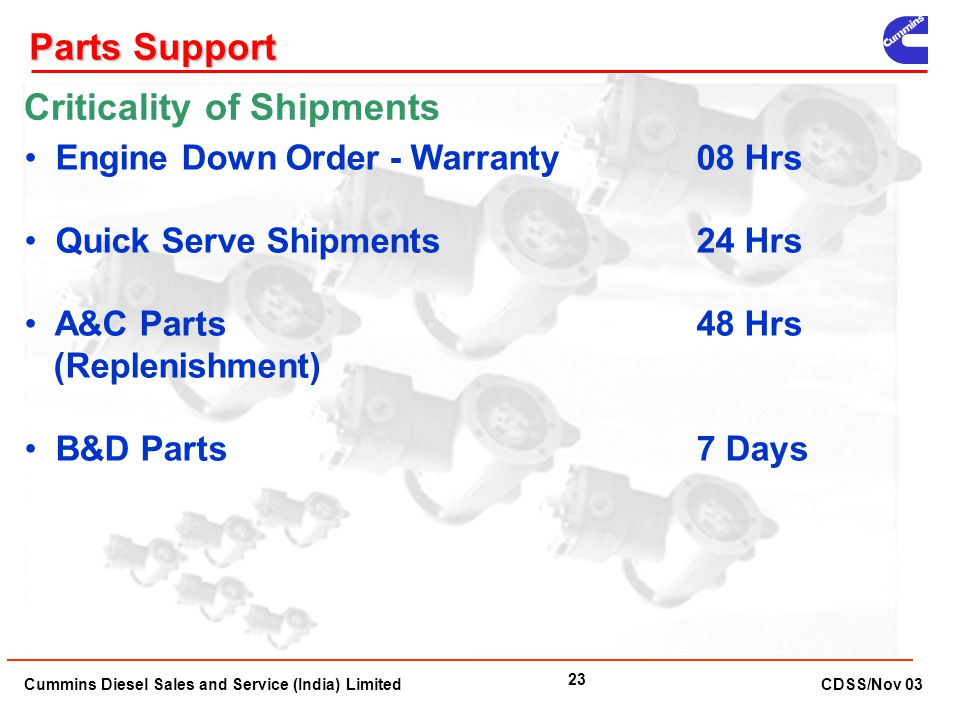 Cummins Diesel Sales and Service (India) Limited CDSS/Nov 03 23 Engine Down Order - Warranty 08 Hrs Quick Serve Shipments24 Hrs A&C Parts 48 Hrs (Repl