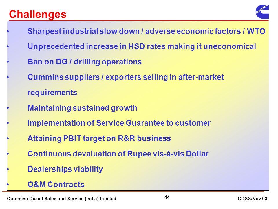 Cummins Diesel Sales and Service (India) Limited CDSS/Nov 03 44 Challenges Sharpest industrial slow down / adverse economic factors / WTO Unprecedente