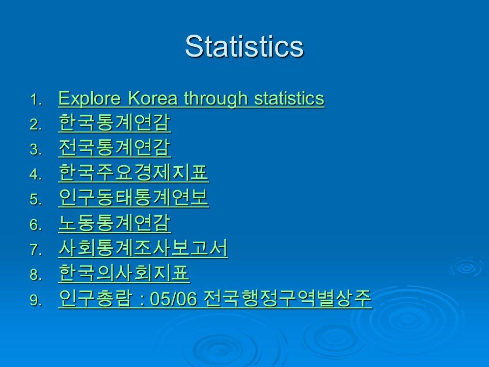 Statistics 1. Explore Korea through statistics Explore Korea through statistics Explore Korea through statistics 2. 한국통계연감 한국통계연감 3. 전국통계연감 전국통계연감 4.
