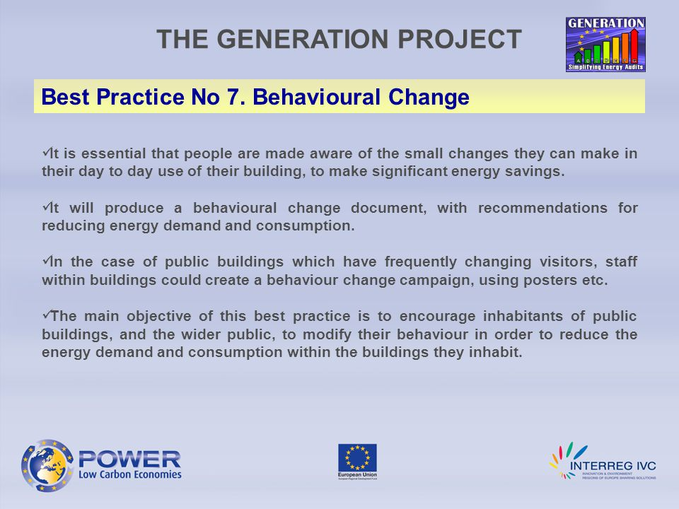 THE GENERATION PROJECT Best Practice No 7.