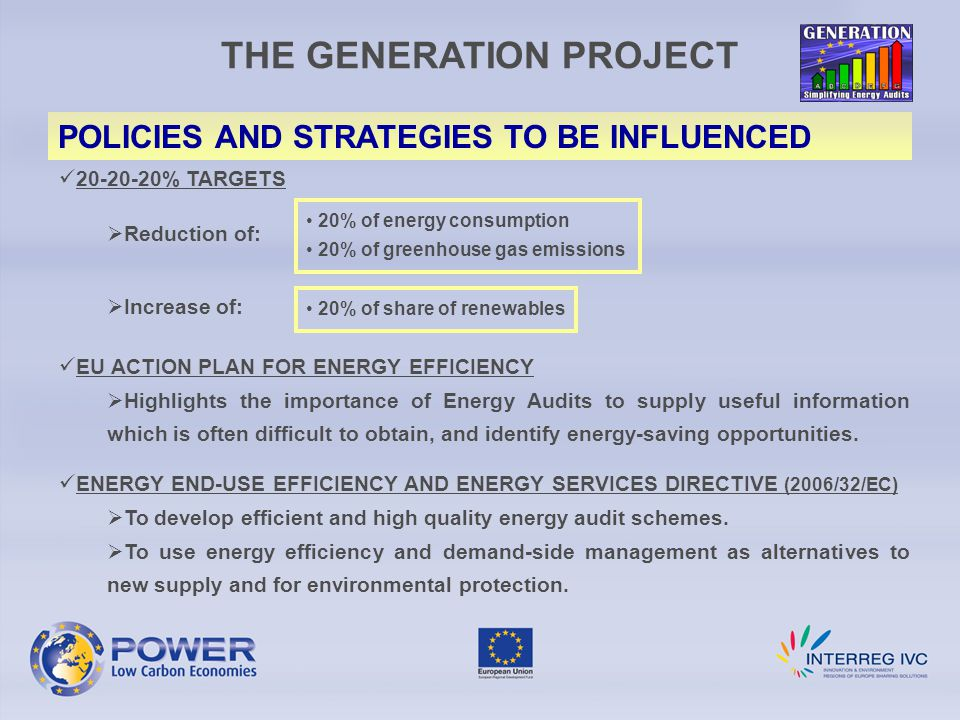 THE GENERATION PROJECT POLICIES AND STRATEGIES TO BE INFLUENCED 20-20-20% TARGETS  Reduction of:  Increase of: EU ACTION PLAN FOR ENERGY EFFICIENCY  Highlights the importance of Energy Audits to supply useful information which is often difficult to obtain, and identify energy-saving opportunities.
