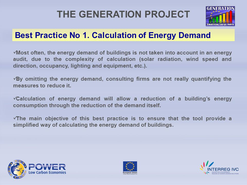THE GENERATION PROJECT Best Practice No 1.