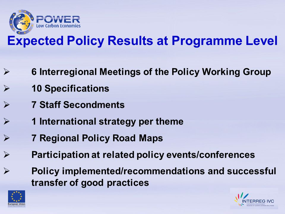 Expected Policy Results at Programme Level  6 Interregional Meetings of the Policy Working Group  10 Specifications  7 Staff Secondments  1 International strategy per theme  7 Regional Policy Road Maps  Participation at related policy events/conferences  Policy implemented/recommendations and successful transfer of good practices