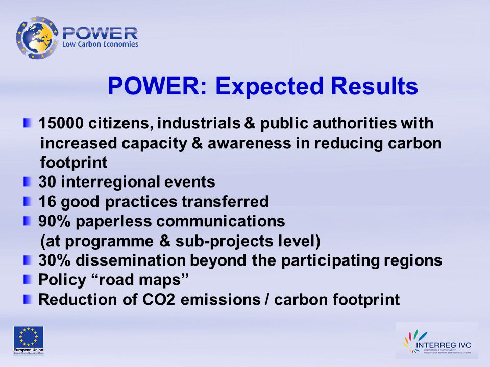 POWER: Expected Results 15000 citizens, industrials & public authorities with increased capacity & awareness in reducing carbon footprint 30 interregi