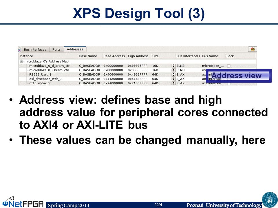 Spring Camp 2013 124 XPS Design Tool (3) Address view Address view: defines base and high address value for peripheral cores connected to AXI4 or AXI-