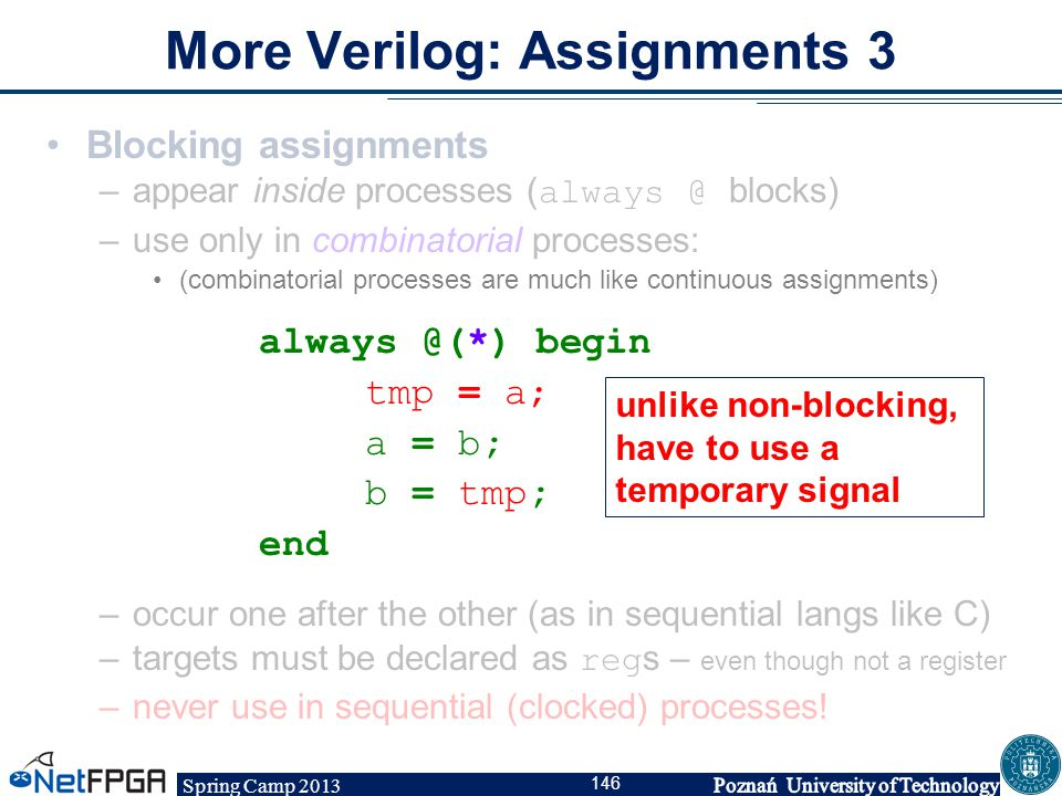 Spring Camp 2013 146 More Verilog: Assignments 3 Blocking assignments –appear inside processes ( always @ blocks) –use only in combinatorial processes