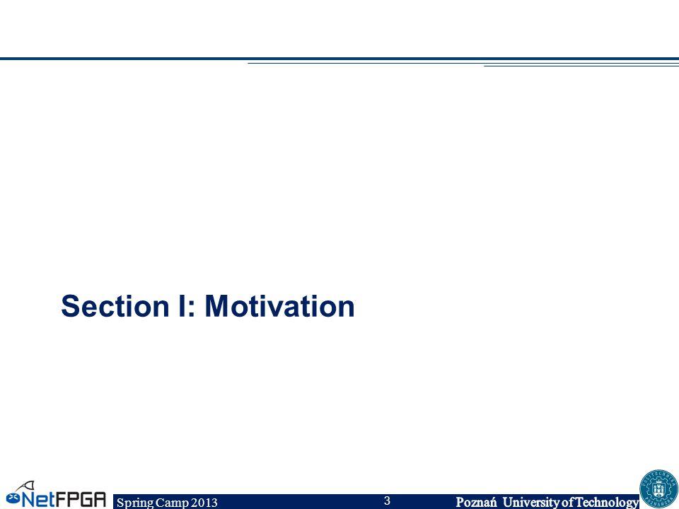 Spring Camp 2013 3 Section I: Motivation