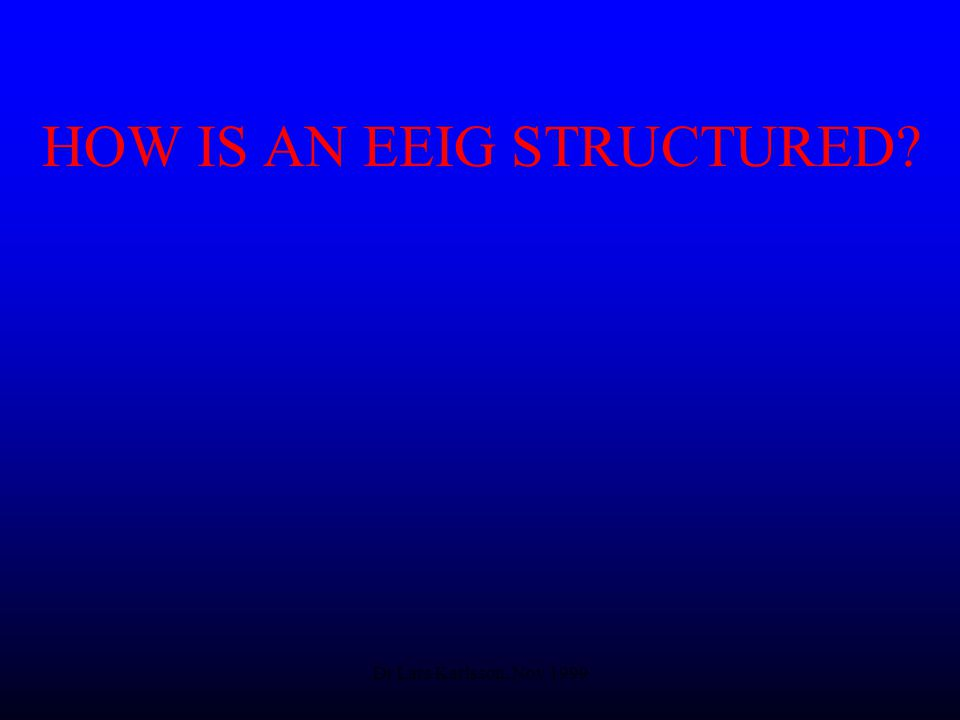 Dr Lars Karlsson, Nov 1999 HOW IS AN EEIG STRUCTURED