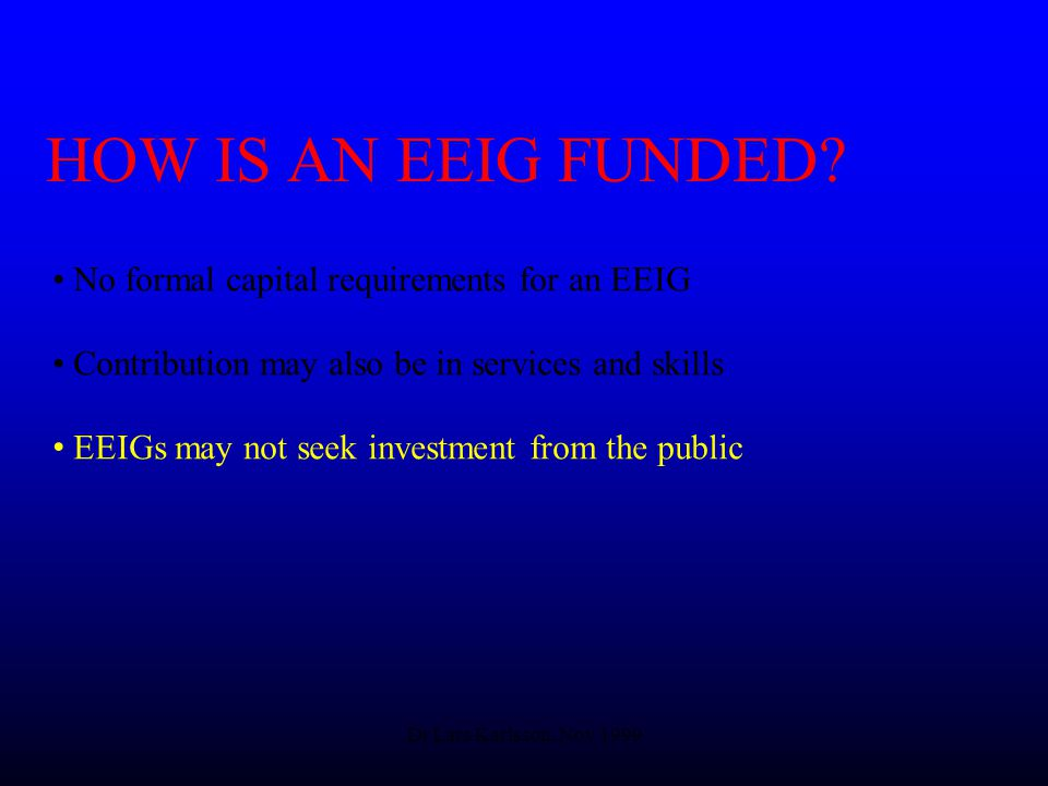 Dr Lars Karlsson, Nov 1999 HOW IS AN EEIG FUNDED.
