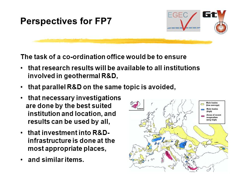 The task of a co-ordination office would be to ensure that research results will be available to all institutions involved in geothermal R&D, that parallel R&D on the same topic is avoided, that necessary investigations are done by the best suited institution and location, and results can be used by all, that investment into R&D- infrastructure is done at the most appropriate places, and similar items.