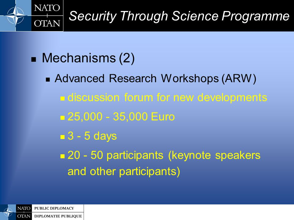 Mechanisms (2) Advanced Research Workshops (ARW) discussion forum for new developments 25,000 - 35,000 Euro 3 - 5 days 20 - 50 participants (keynote s