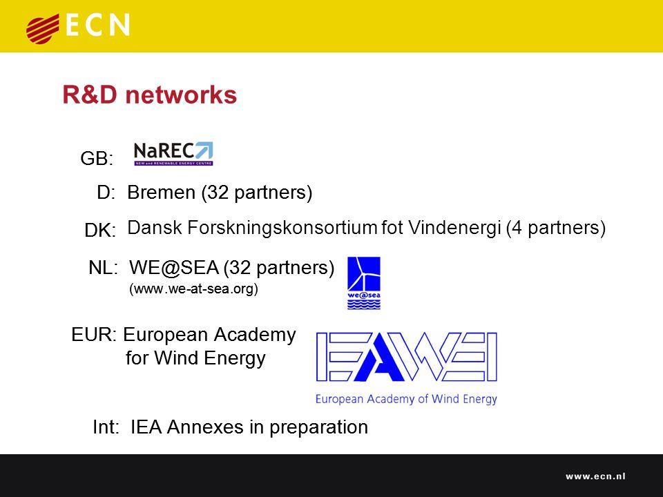 R&D networks NL: WE@SEA (32 partners) GB: D:Bremen(32 partners) DK: EUR: EuropeanAcademy forWindEnergy (www.we-at-sea.org) Int: IEAAnnexesinpreparation NL: WE@SEA (32 partners) GB: D:Bremen(32 partners) DK: Dansk Forskningskonsortium fot Vindenergi (4 partners) EUR: EuropeanAcademy forWindEnergy (www.we-at-sea.org) Int: IEAAnnexesinpreparation