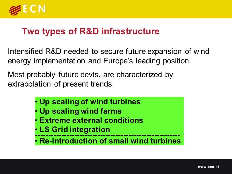 Two types of R&D infrastructure Intensified R&D needed to secure future expansion of wind energy implementation and Europe's leading position.