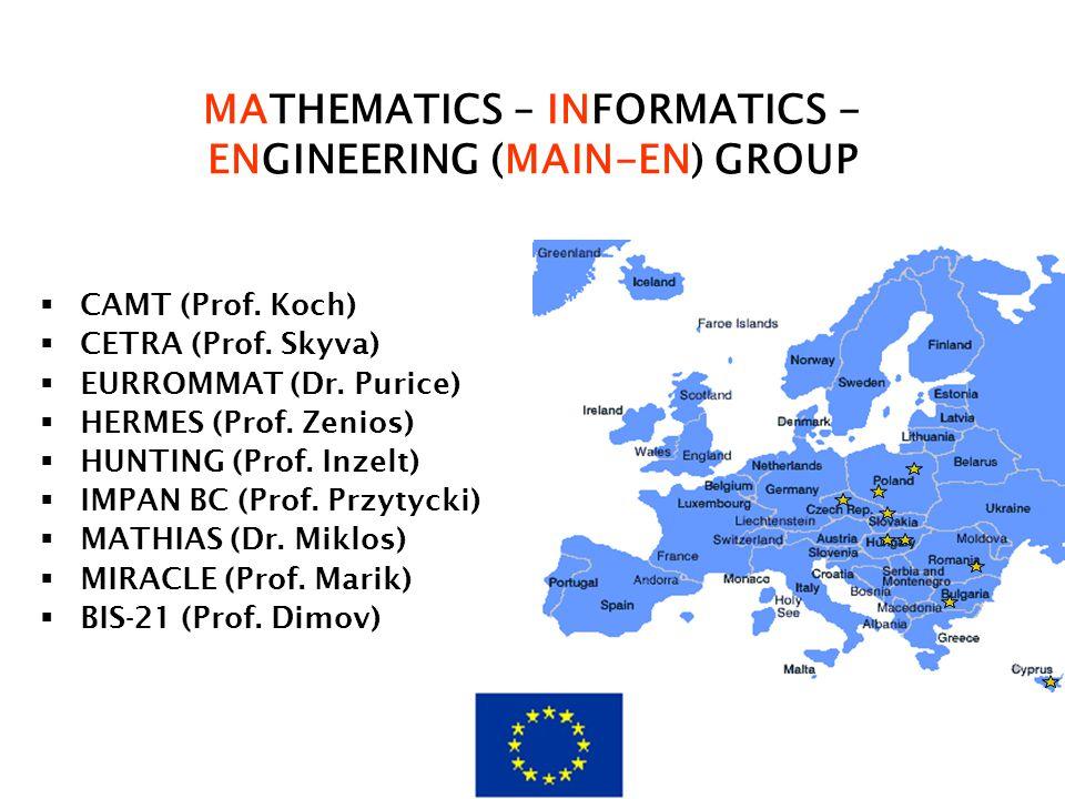 MATHEMATICS – INFORMATICS - ENGINEERING (MAIN-EN) GROUP  CAMT (Prof. Koch)  CETRA (Prof. Skyva)  EURROMMAT (Dr. Purice)  HERMES (Prof. Zenios)  H