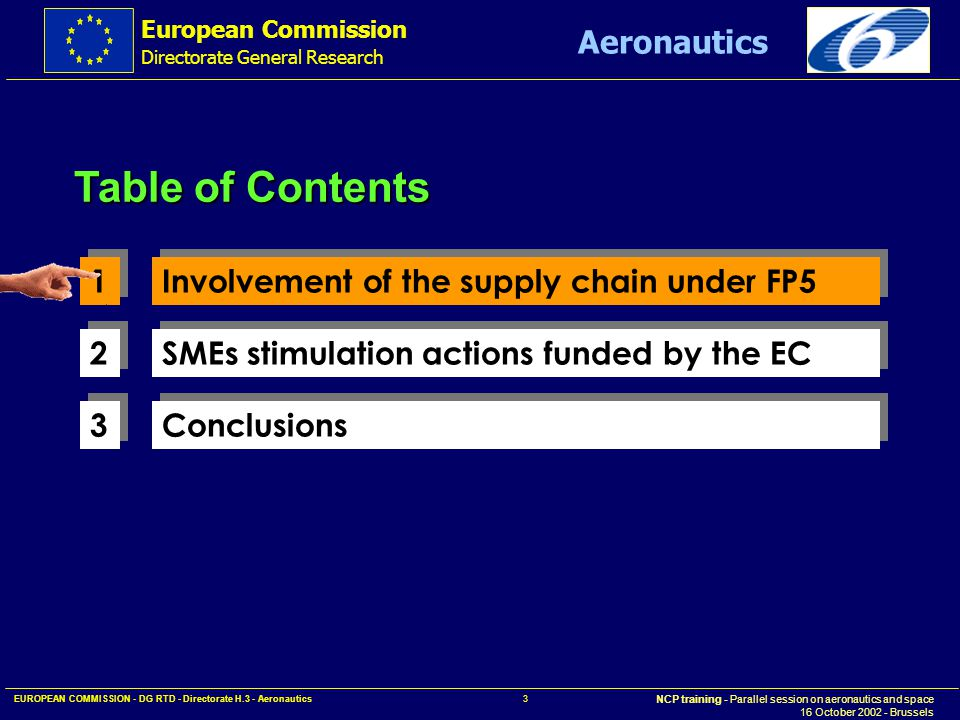 European Commission Directorate General Research NCP training - Parallel session on aeronautics and space 16 October 2002 - Brussels Aeronautics EUROPEAN COMMISSION - DG RTD - Directorate H.3 - Aeronautics 14 AeroSME is covering a large number of countries.