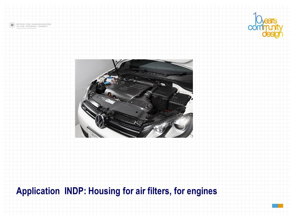 Application INDP: Housing for air filters, for engines