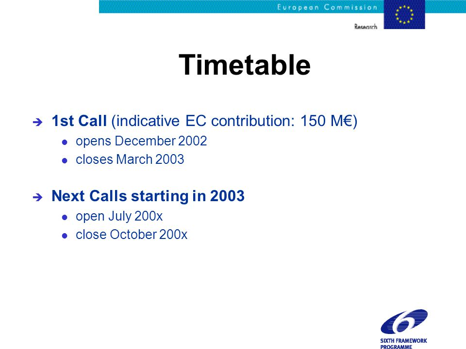 Timetable è 1st Call (indicative EC contribution: 150 M€) l opens December 2002 l closes March 2003 è Next Calls starting in 2003 l open July 200x l close October 200x