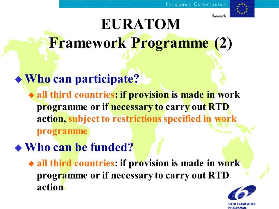 EURATOM Framework Programme (2) u Who can participate.