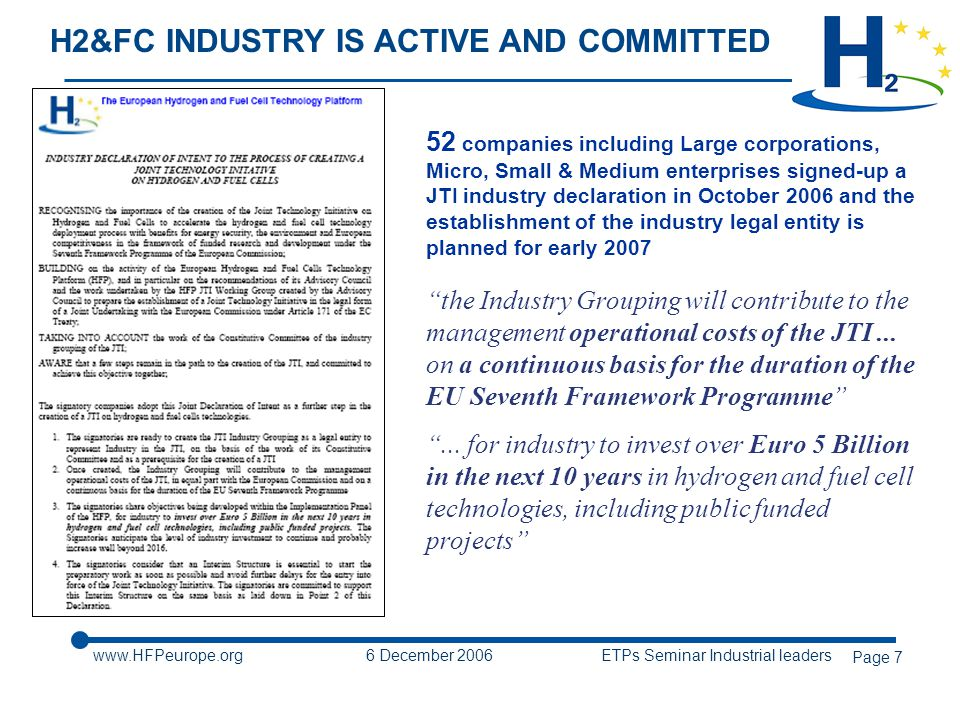6 December 2006 ETPs Seminar Industrial leaders Page 7 H2&FC INDUSTRY IS ACTIVE AND COMMITTED 52 companies including Large corporations, Micro, Small & Medium enterprises signed-up a JTI industry declaration in October 2006 and the establishment of the industry legal entity is planned for early 2007 the Industry Grouping will contribute to the management operational costs of the JTI...