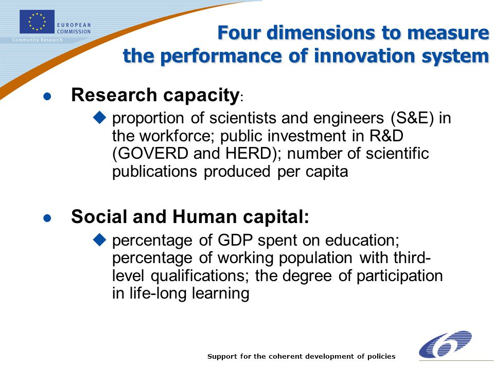 Support for the coherent development of policies Four dimensions to measure the performance of innovation system l Research capacity : uproportion of