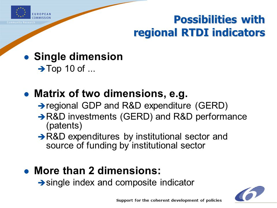 Support for the coherent development of policies Possibilities with regional RTDI indicators l Single dimension è Top 10 of... l Matrix of two dimensi