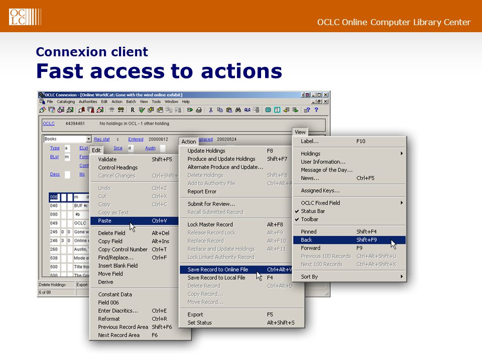 OCLC Online Computer Library Center Connexion client Improved bib save file