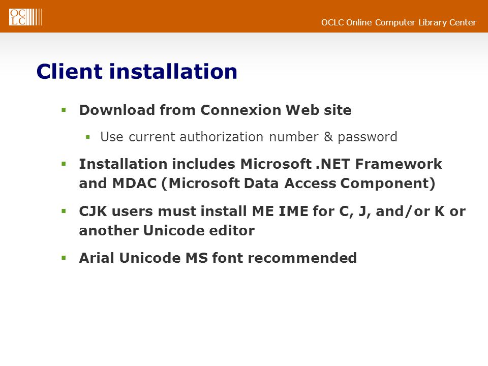 OCLC Online Computer Library Center Client setup