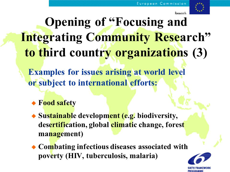 Opening of Focusing and Integrating Community Research to third country organizations (3) Examples for issues arising at world level or subject to international efforts: u Food safety u Sustainable development (e.g.