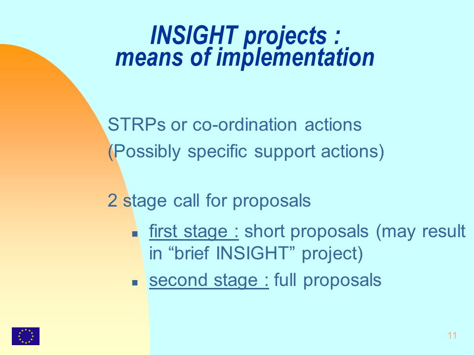 11 INSIGHT projects : means of implementation STRPs or co-ordination actions (Possibly specific support actions) 2 stage call for proposals n first st