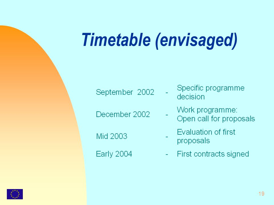 19 Timetable (envisaged)