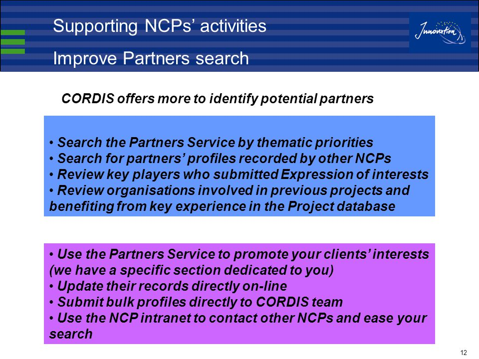 12 Search the Partners Service by thematic priorities Search for partners' profiles recorded by other NCPs Review key players who submitted Expression of interests Review organisations involved in previous projects and benefiting from key experience in the Project database Use the Partners Service to promote your clients' interests (we have a specific section dedicated to you) Update their records directly on-line Submit bulk profiles directly to CORDIS team Use the NCP intranet to contact other NCPs and ease your search CORDIS offers more to identify potential partners Supporting NCPs' activities Improve Partners search