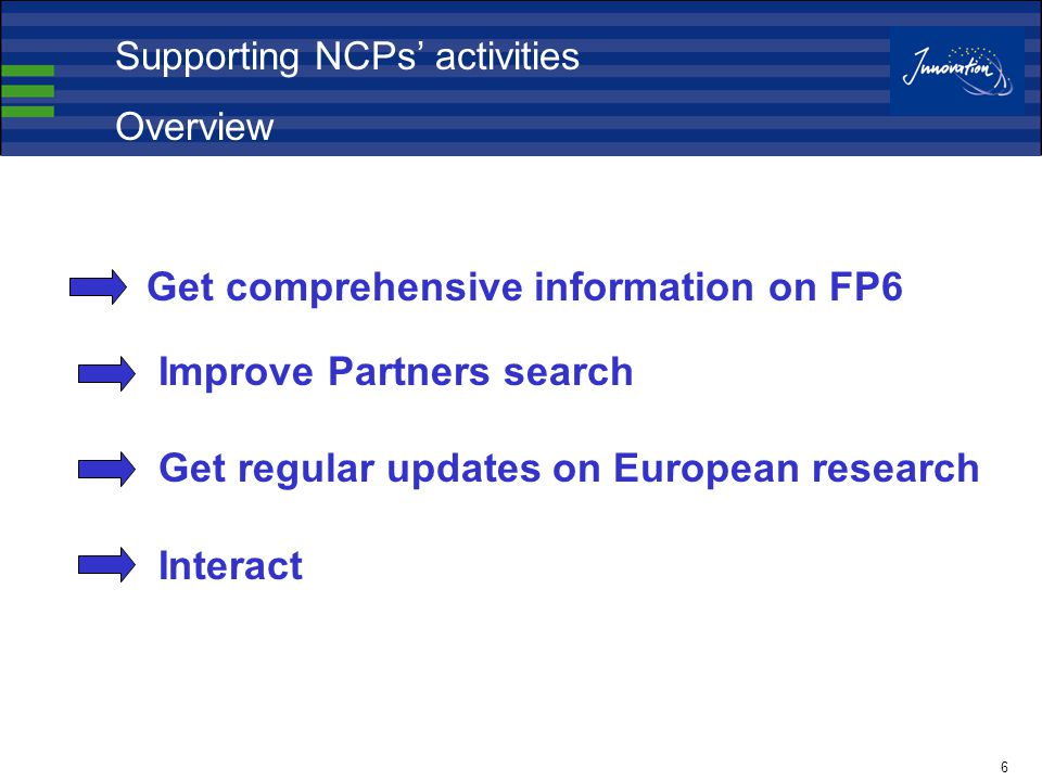 6 Get comprehensive information on FP6 Improve Partners search Get regular updates on European research Interact Supporting NCPs' activities Overview
