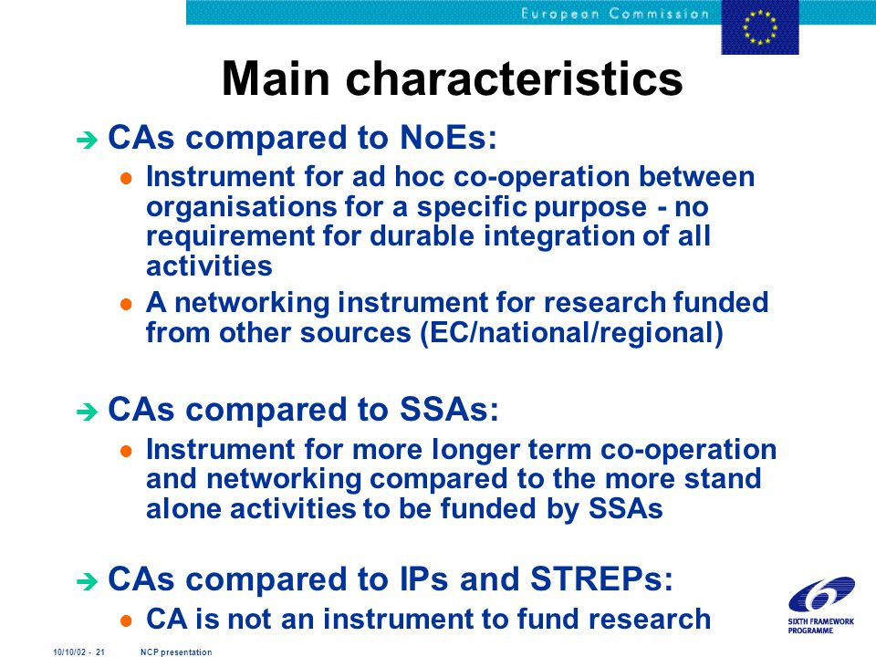 10/10/02 - 21 NCP presentation Main characteristics è CAs compared to NoEs: l Instrument for ad hoc co-operation between organisations for a specific purpose - no requirement for durable integration of all activities l A networking instrument for research funded from other sources (EC/national/regional) è CAs compared to SSAs: l Instrument for more longer term co-operation and networking compared to the more stand alone activities to be funded by SSAs è CAs compared to IPs and STREPs: l CA is not an instrument to fund research