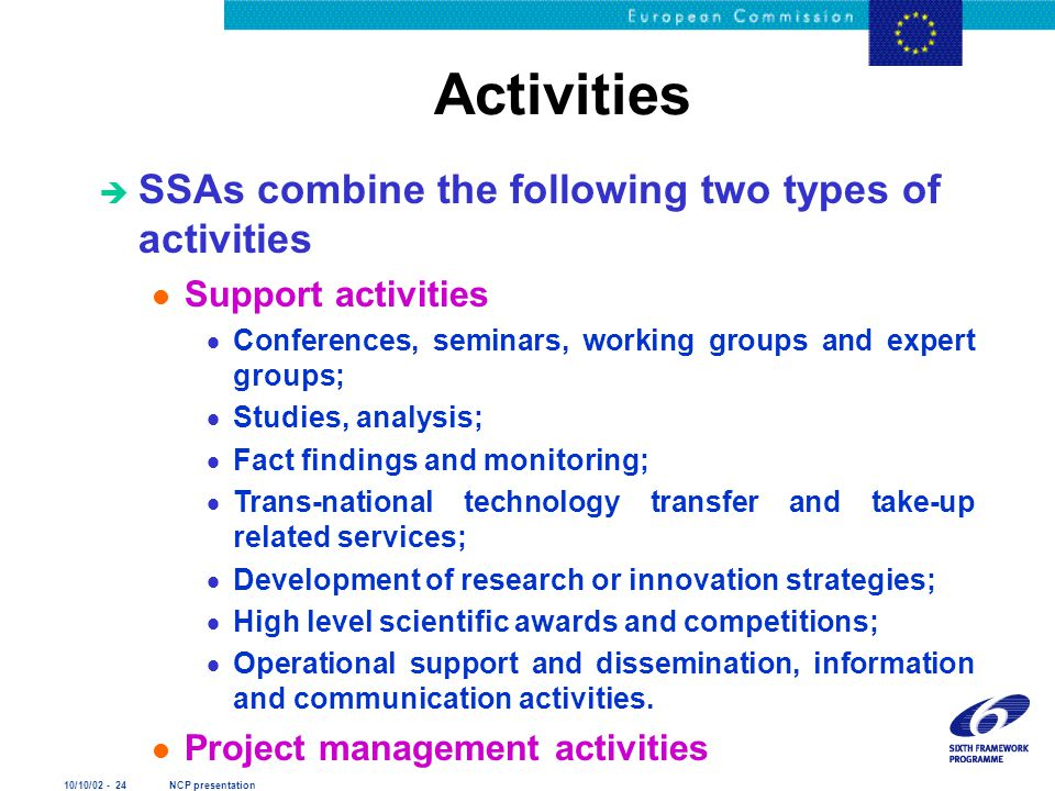 10/10/02 - 24 NCP presentation Activities è SSAs combine the following two types of activities l Support activities  Conferences, seminars, working g