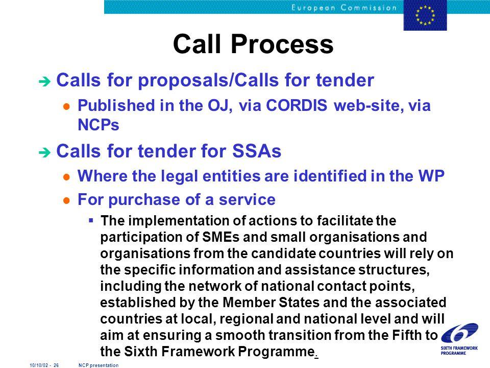 10/10/02 - 26 NCP presentation Call Process è Calls for proposals/Calls for tender l Published in the OJ, via CORDIS web-site, via NCPs è Calls for te