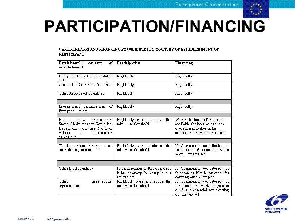 10/10/02 - 8 NCP presentation PARTICIPATION/FINANCING